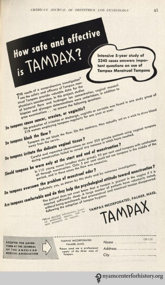 Tampax as in the American Journal of Obstetrics and Gynecology, volume 48, number 6, December 1944. Click to enlarge.